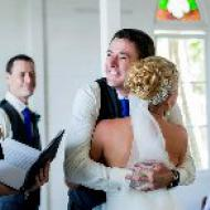 Kylie and Jason Hugs! October 2013, St Mary's By The Sea, Cairns Civil Marriage Celebrant, Melanie Serafin